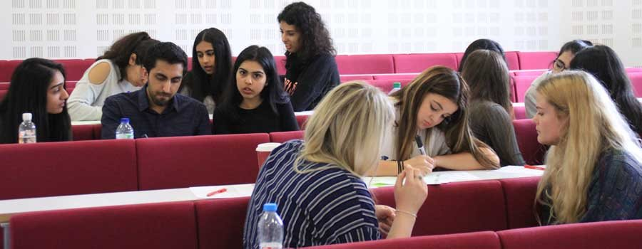 Students working in one of the law school lecture theatres.