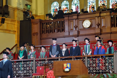 graduation congregation on stage in the great hall