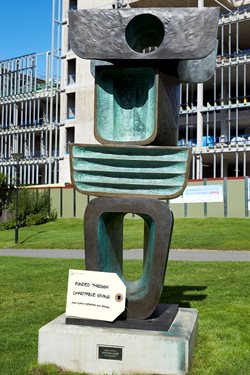 Barbara Hepworth sculpture with thank you tag