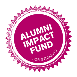 Pint round stamp with the words Alumni Impact Fund for Students