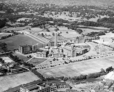 Aerial view of the campus in 1930