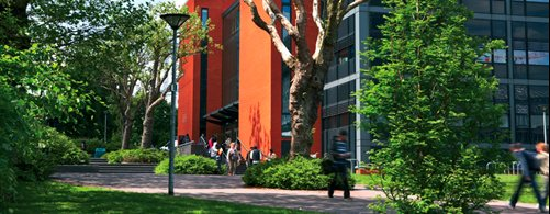 Walking across campus - the Learning Centre