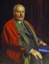 Portrait of Dr Edward Cadbury in university robes