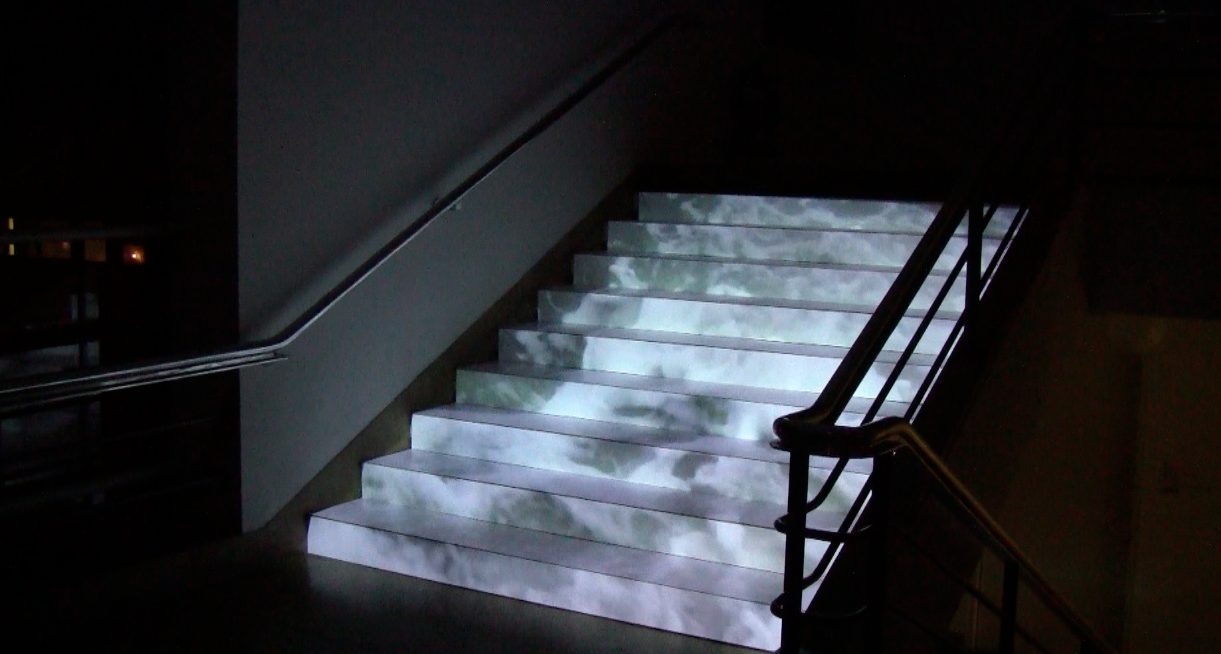 Lynn Dennison, Waterfall, Dimensions variable, installation with video projection at De La Warr Pavilion 2014