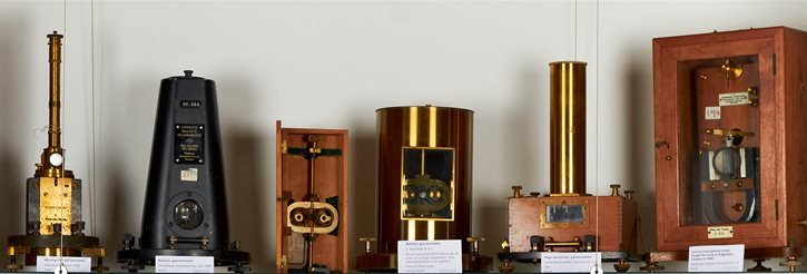 Objects on display in the Historic Physics Collection Museum, Poynting Building