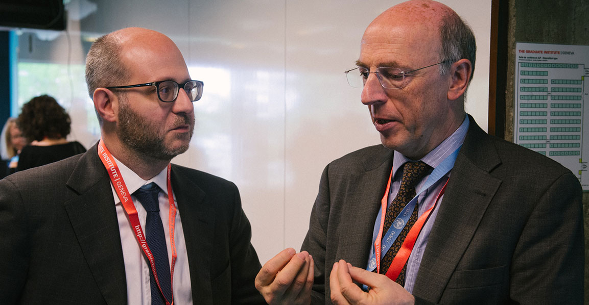 Dr Luca Rubini (left) with the Belgian Ambassar at the Geneva Symposium