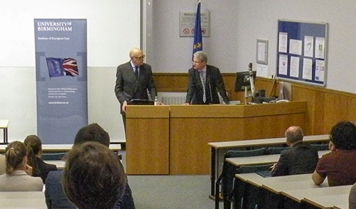 Photo of Professor Alan Dashwood with Professor Martin Trybus at the IEL Annual lecture 2012