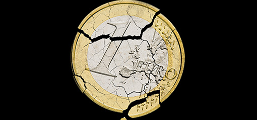 photo of a damaged one euro coin