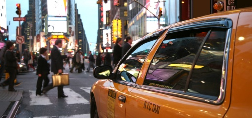 Photograph of yellow New York City cab