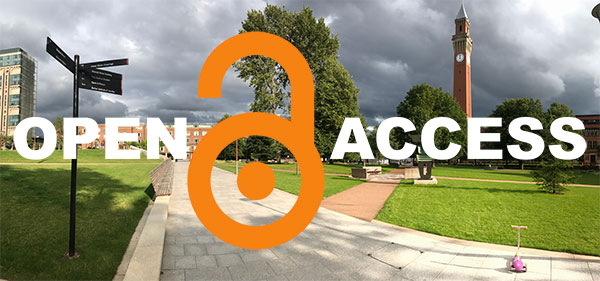 Open Access logo with University of Birmingham campus in the background