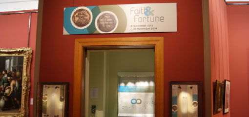 Picture of the Faith and Fortune exhibition at the Barber Institute of Fine Arts, curated by CBOMGS postgraduates