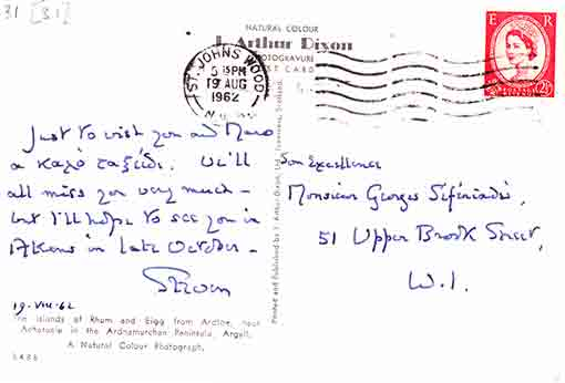 Postcard to George Seferis from Sir Steven Runciman