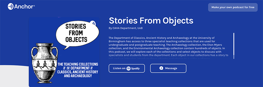 Screenshot of stories from objects series page on Anchor FM