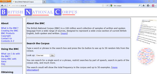 Screenshot of the British National Corpus