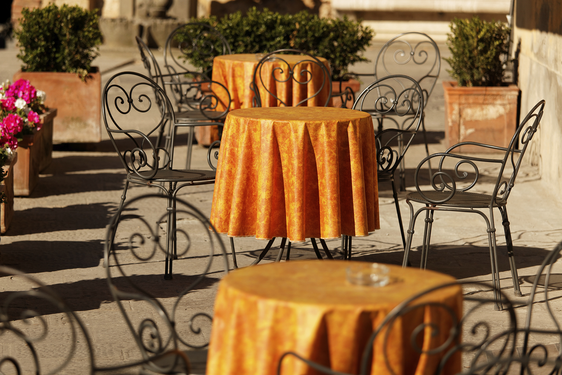 Photograph of outdoor cafe tables