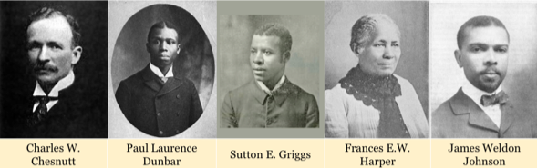 Photos of the authors in the AAW corpus: Charles W. Chesnutt, Paul Laurence Dunbar, Sutton E. Griggs, Frances E.W. Harper and James Weldon Johnson