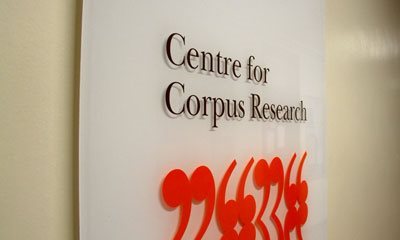 Photo of Corpus Linguistics Centre signage in corridor