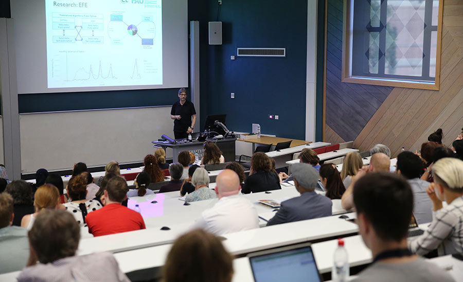 Stefan Evert addresses a busy Main Lecture Theatre