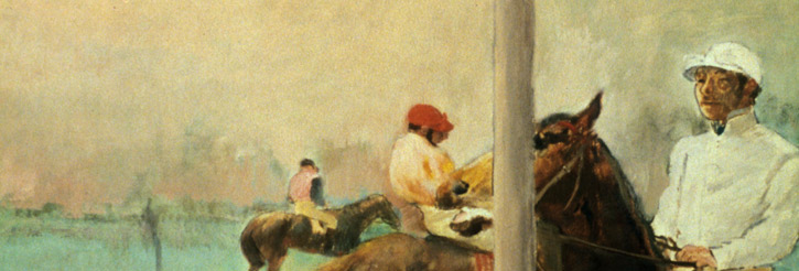 Detail from a Degas painting depicting jockeys and horses before a race