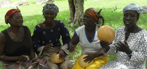 Women from Nania performing songs at the Pikworo slave camp. Photo: Emmanuel Saboro