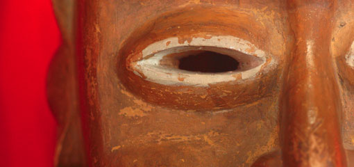 Photo of an eye from a mask that is part of the Danford Collection.