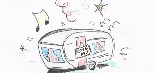 Drawing of a caravan