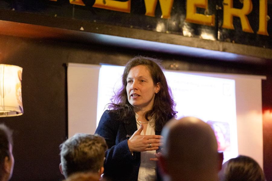 "Professor Michalea Mahlberg presenting at the University of Birmingham ""Fantastic Research"" event at Cherry Reds, Birmingham"
