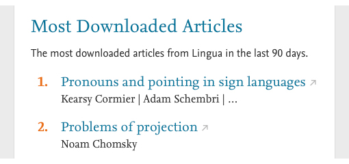 Most downloaded articles in journal Lingua