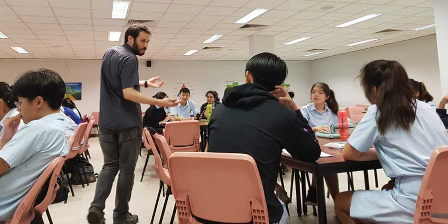 Joe Bennett and Gareth Carrol visited Catholic Junior College in Singapore to promote the study of linguistics.