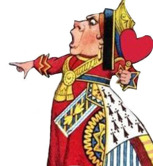 Queen of Hearts pointing to her left