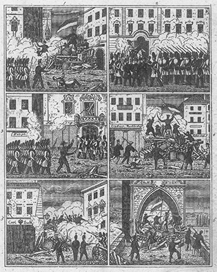 Woodcut of Prague, Barricades during the revolution of 1848, June 1848