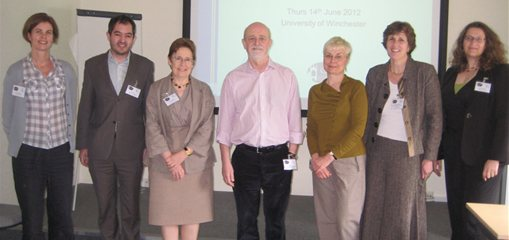 Dr Alison Sealey with fellow speakers at Linguistics event