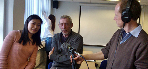 Michael Rosen visiting the University to record a Radio4 'Word of Mouth' episode with English students