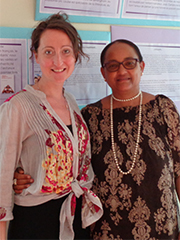 Louise Hardwick with librarian Raphaelle Bouville