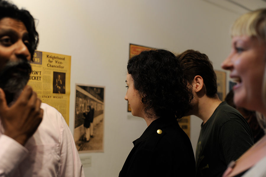 Attendees viewing the exhibition