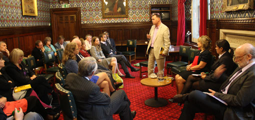 Photo of Dr Matt Cole addressing guests at the launch of his new book.
