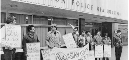 Asian Youth Movement protest outside West Bar Police Station, 1983 (Sheffield Newspapers Ltd.)