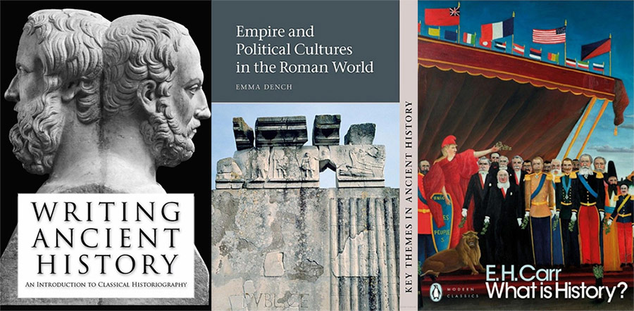 Three book covers for 'Writing Ancient History', 'Empire and Political Cultures in the Ancient World' and 'What is history?'