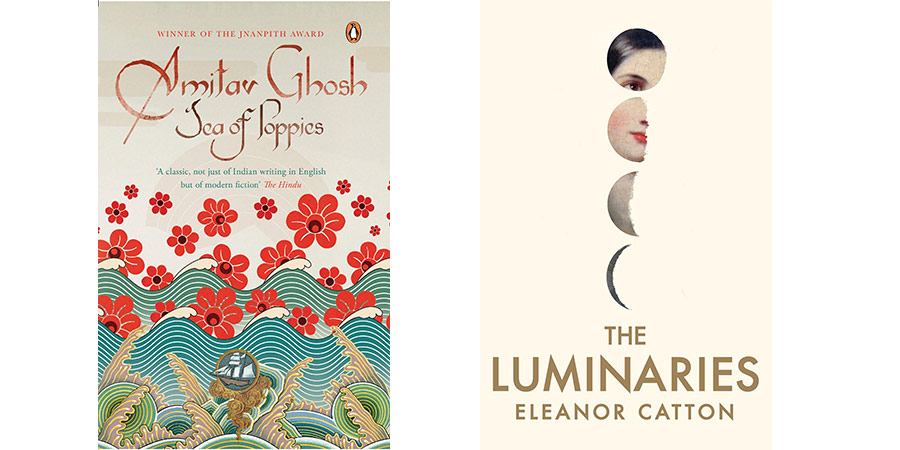 Book covers for Sea of Poppies and The Luminaries