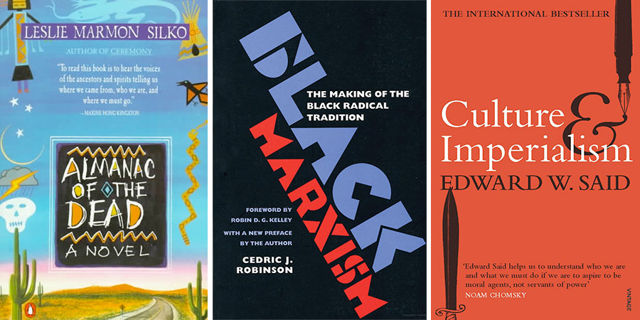 Book covers for 'Almanac of the Dead', 'Black Marxism' and 'Culture & Imperialism'
