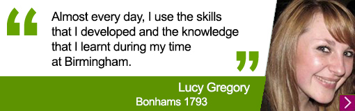 Quote from University alumna Lucy Gregory