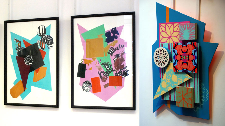Three wall-mounted abstract collages from the Making Sense project