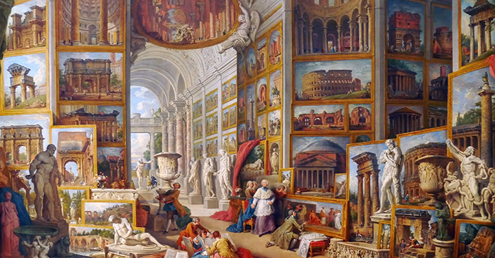 painting by Panini entitled Gallery of Views of Ancient Rome