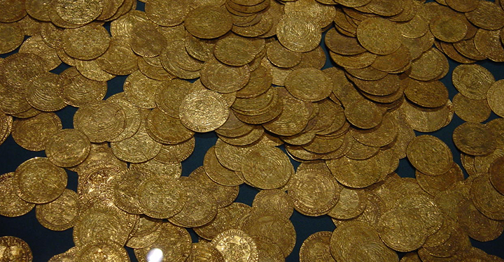 pile of ancient gold coins from Switzerland