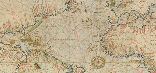 Detail of an old map of the world