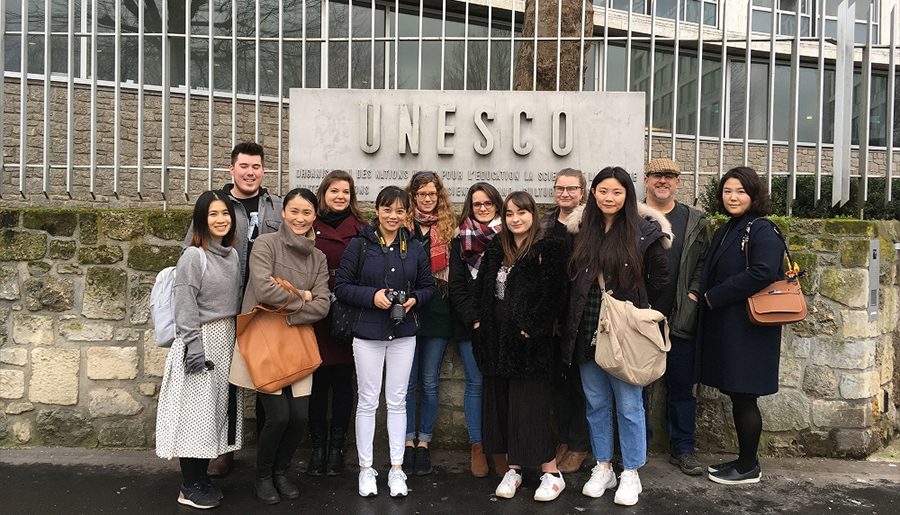 World Heritage students on the 2019 visit to the UNESCO headquarters