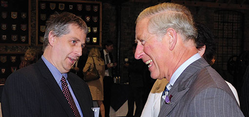 Photograph of Prince Charles meeting Professor Mike Robinson while visiting the Ironbridge Gorge Museum