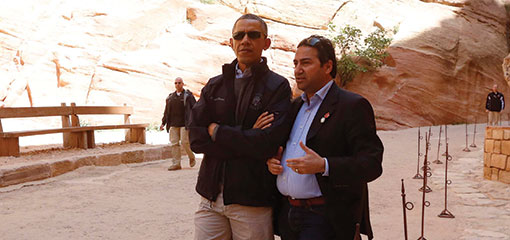 President Obama with Dr Suleiman Farajat at the World Heritage site of the ancient Nabataean City of Petra