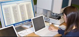 Photograph of Dr Rachel Kevern working on Codex Sinaiticus