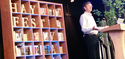 David Parker speaking at the Hay Festival